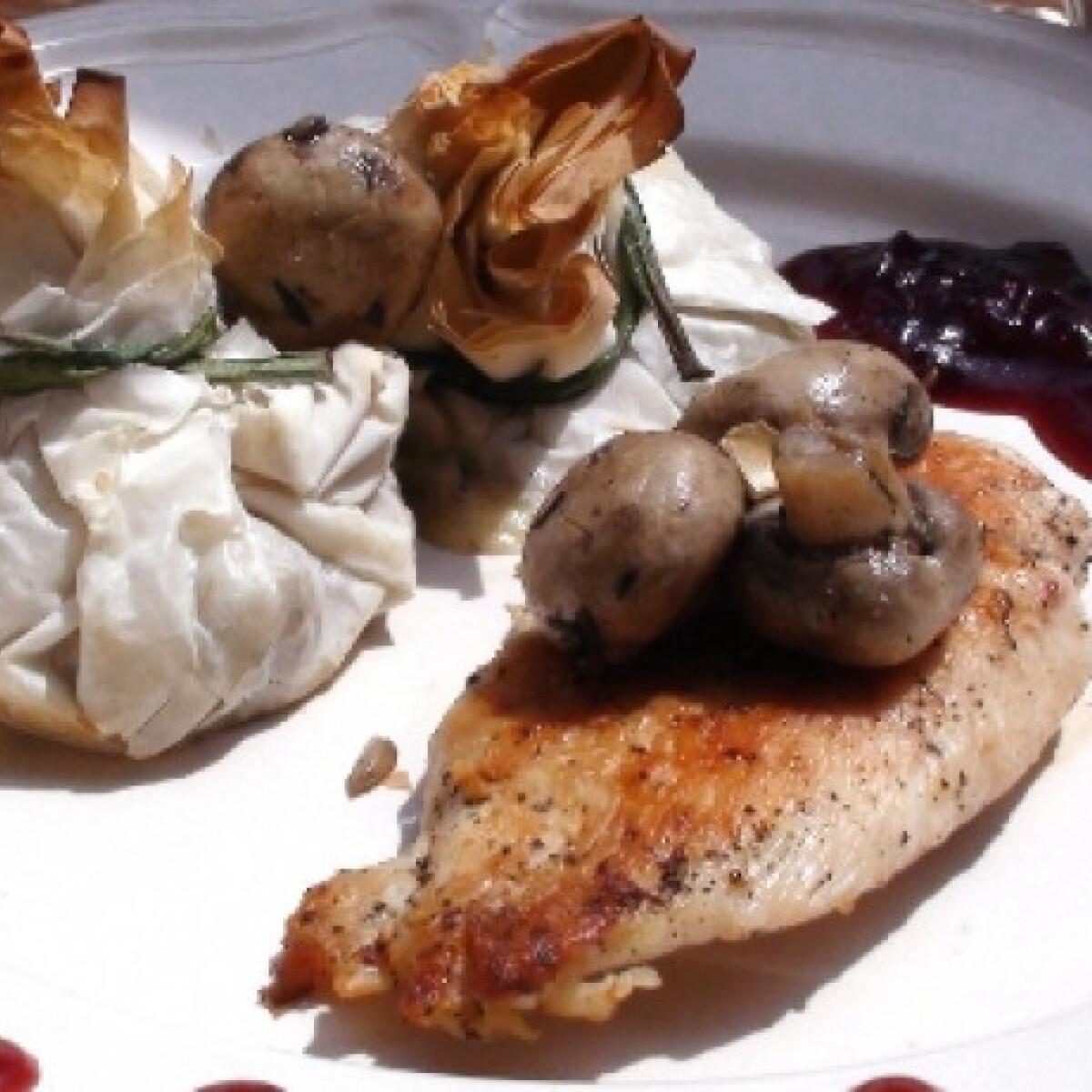 Ezen a képen: Csirke rétesbatyuval és vörösáfonyaszósszal