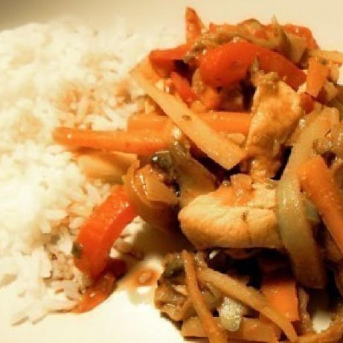 Ezen a képen: Keleti fűszeres kínai csirkeragu