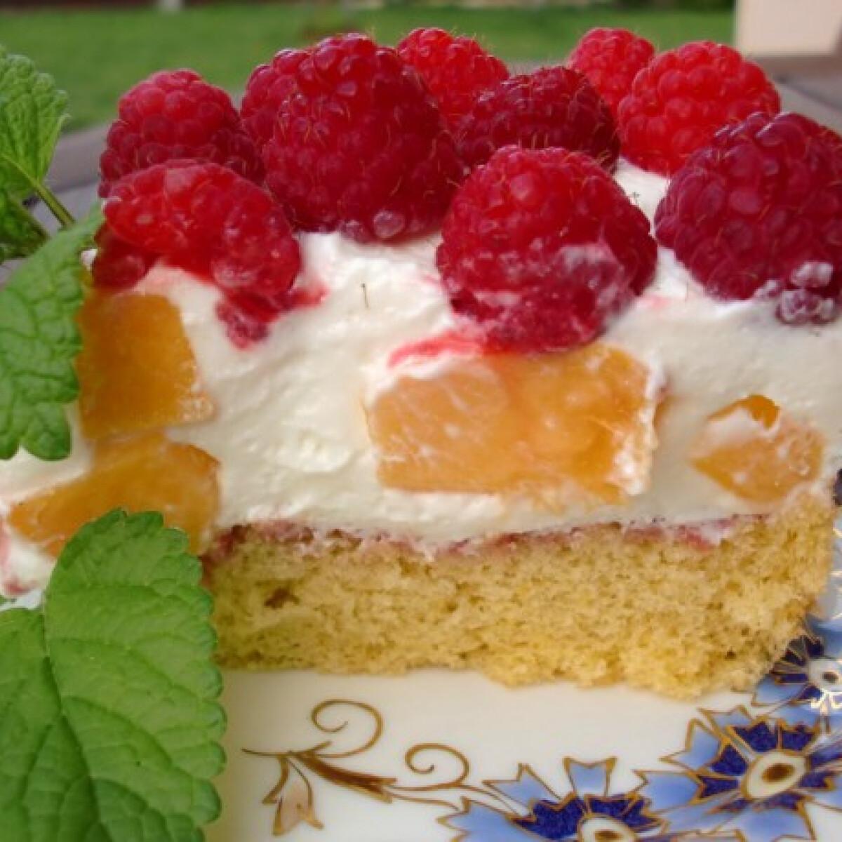 Ezen a képen: Barackos-málnás melba torta