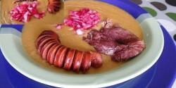 Sárgaborsó főzelék 5. - sonkalében főtt, lilahagymával