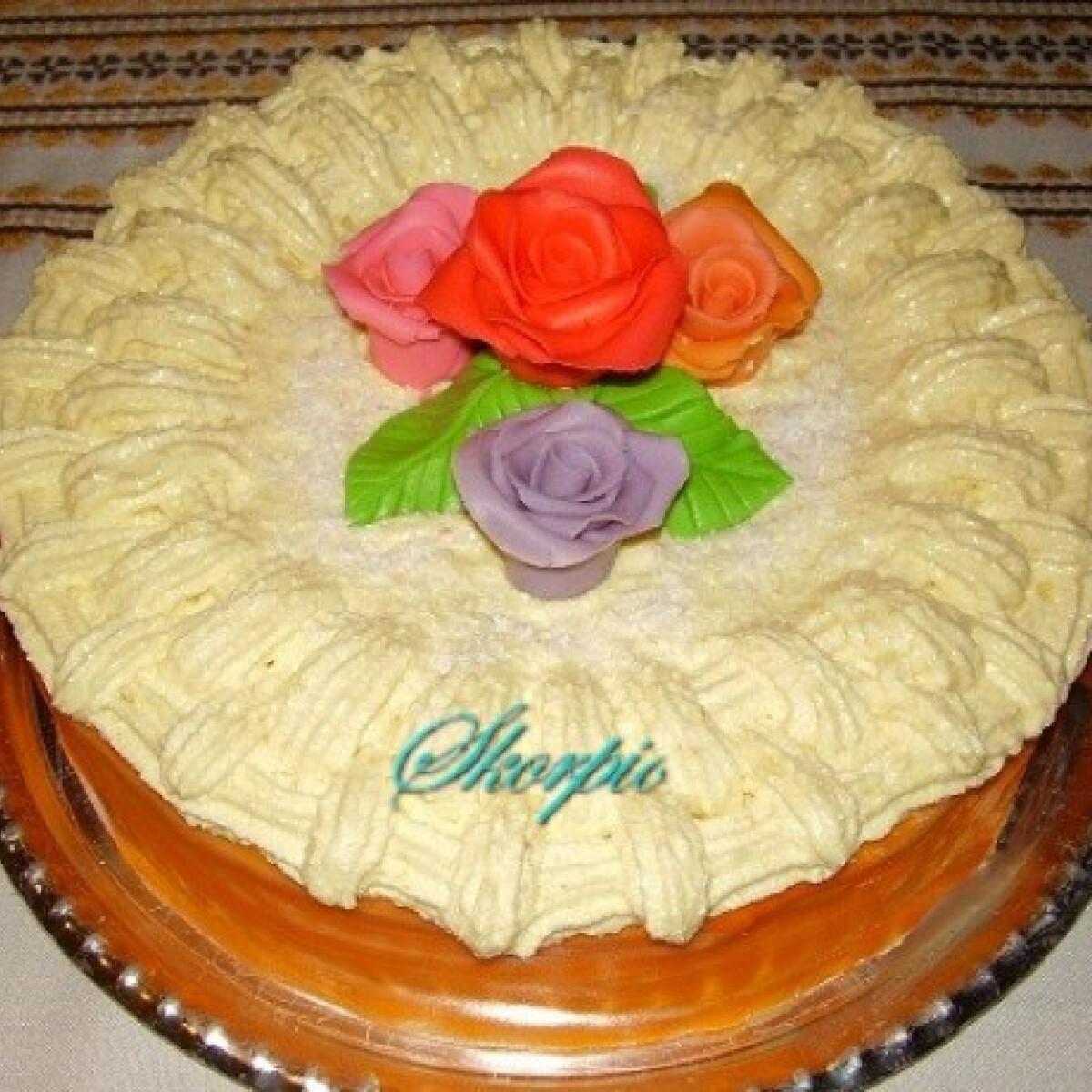 Ezen a képen: Zabpelyhes torta vaníliakrémmel