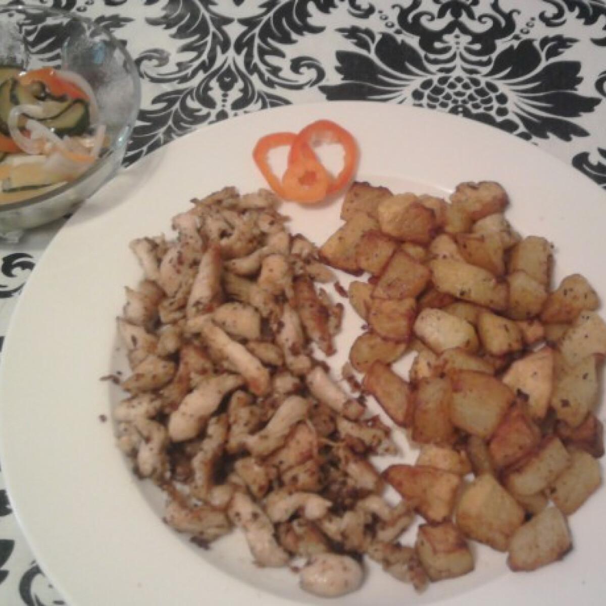 Ezen a képen: Mustáros csirkemell csíkok sült burgonyával
