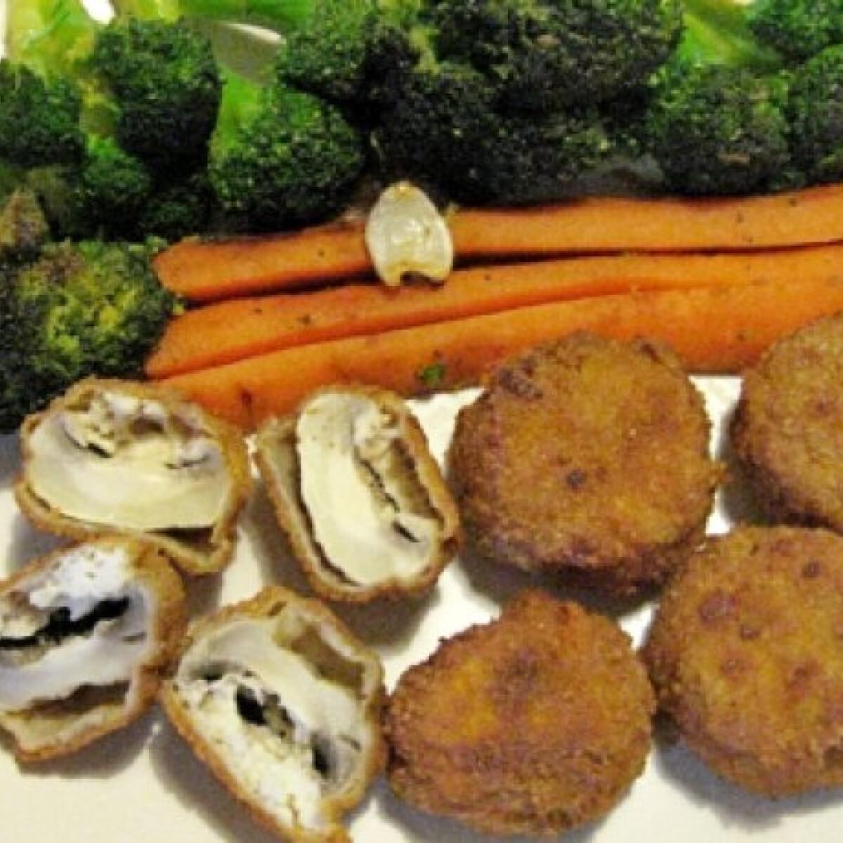 Pirított zöldségek juhtúróval töltött rántott gombafejekkel