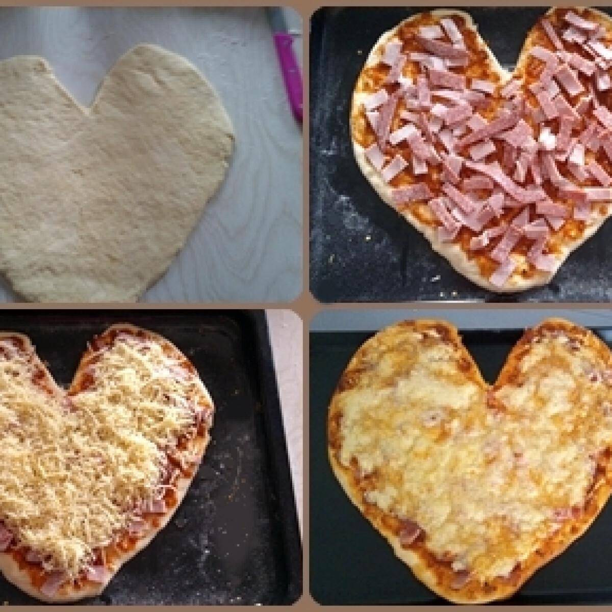 Sonkás szalámis szív alakú pizza