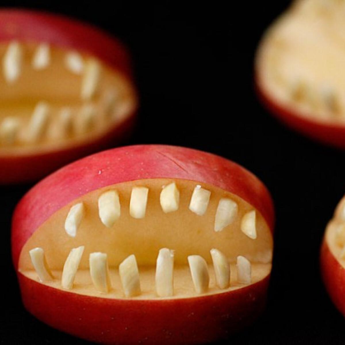 Ezen a képen: Mandulás almaszájak Halloweenra