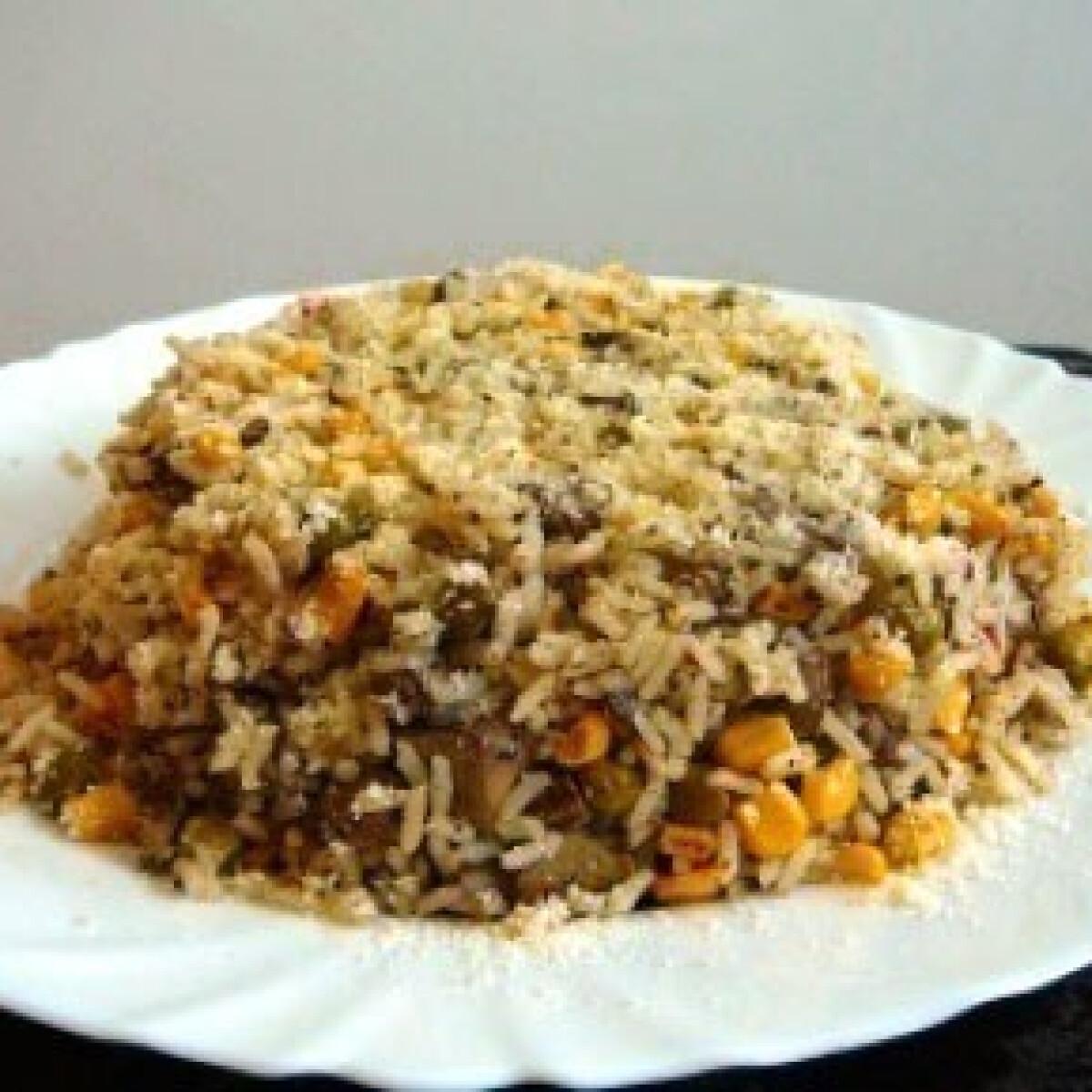 Ezen a képen: Csirkemájas-zöldséges rizs sütőben sütve