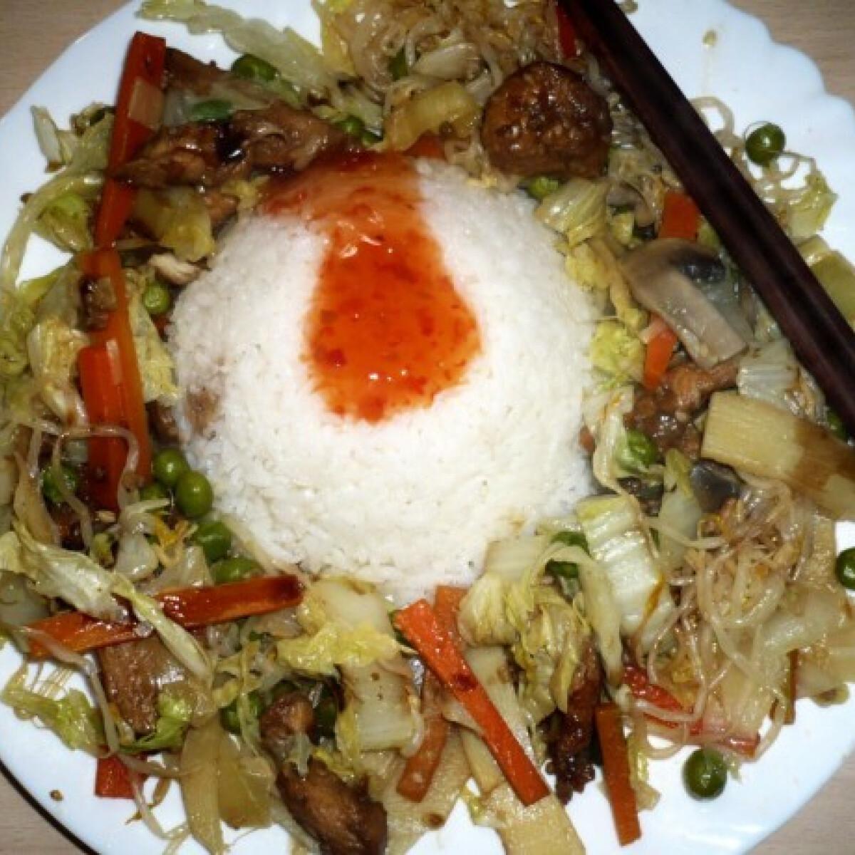 Ezen a képen: Kínai zöldséges csirkecsíkok