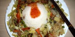 Kínai zöldséges csirkecsíkok