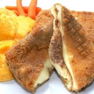 Diós rántott sajt sárgarépás burgonyapürével