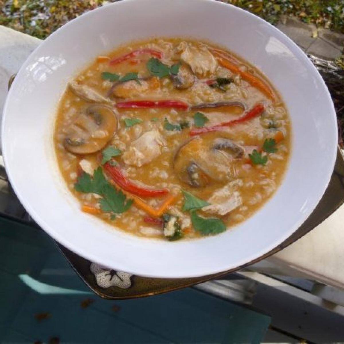Ezen a képen: Thai rizses csirkeleves
