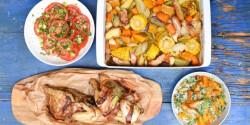 Sült csirke zöldségekkel, parmezános burgonyával, paradicsomsalátával