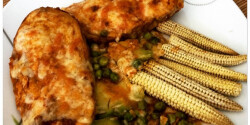 Zöldborsós-sajtos csirkemell