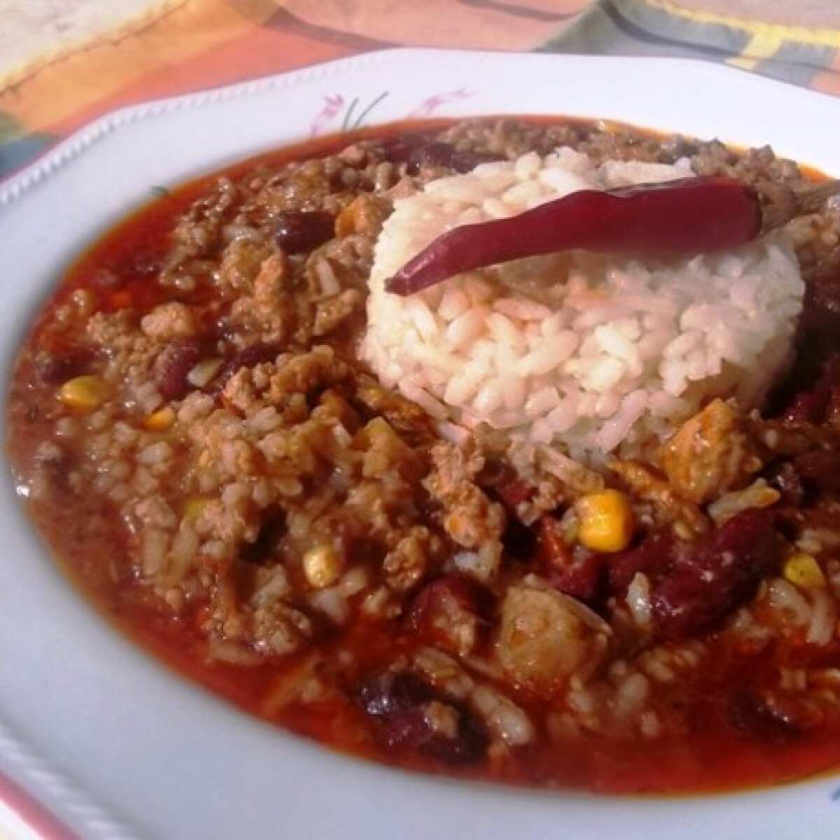 Ezen a képen: Chili con carne - sült chilis bab, ahogy én készítem