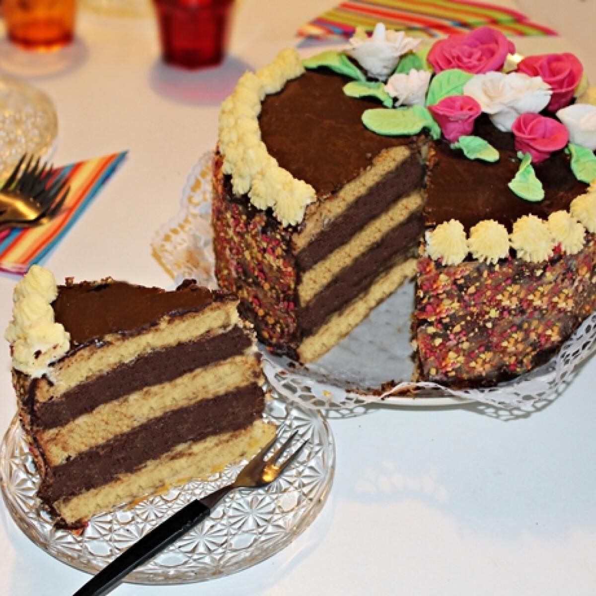 Rózsás csokoládé crémeux torta