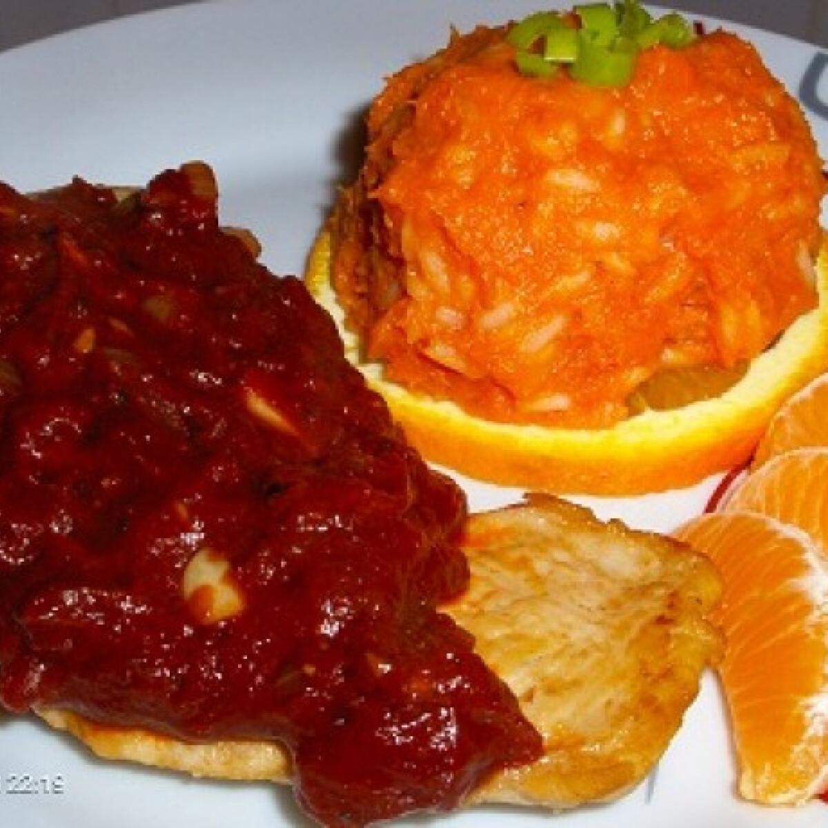 Ezen a képen: Mézes-narancsos csirke sütőtökös rizzsel