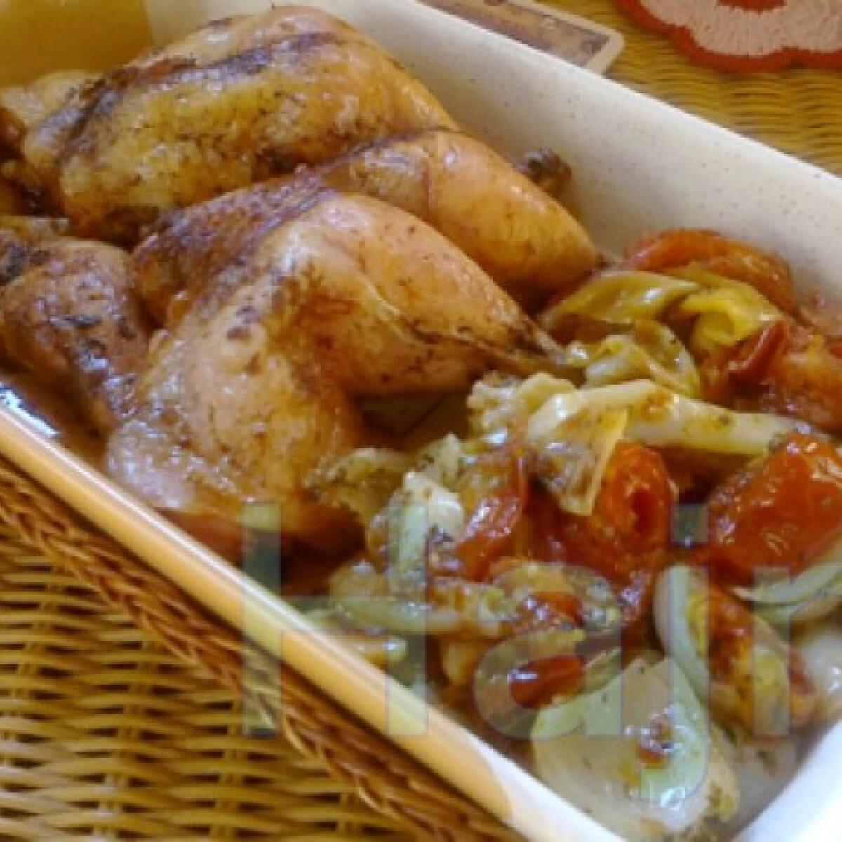 Ezen a képen: Csirkecomb velesült lecsóval