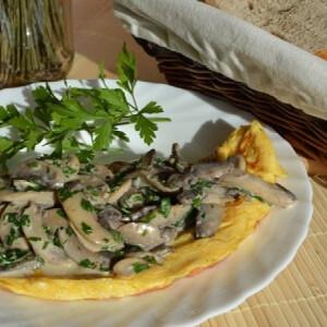 Francia omlett tejszínes gombával