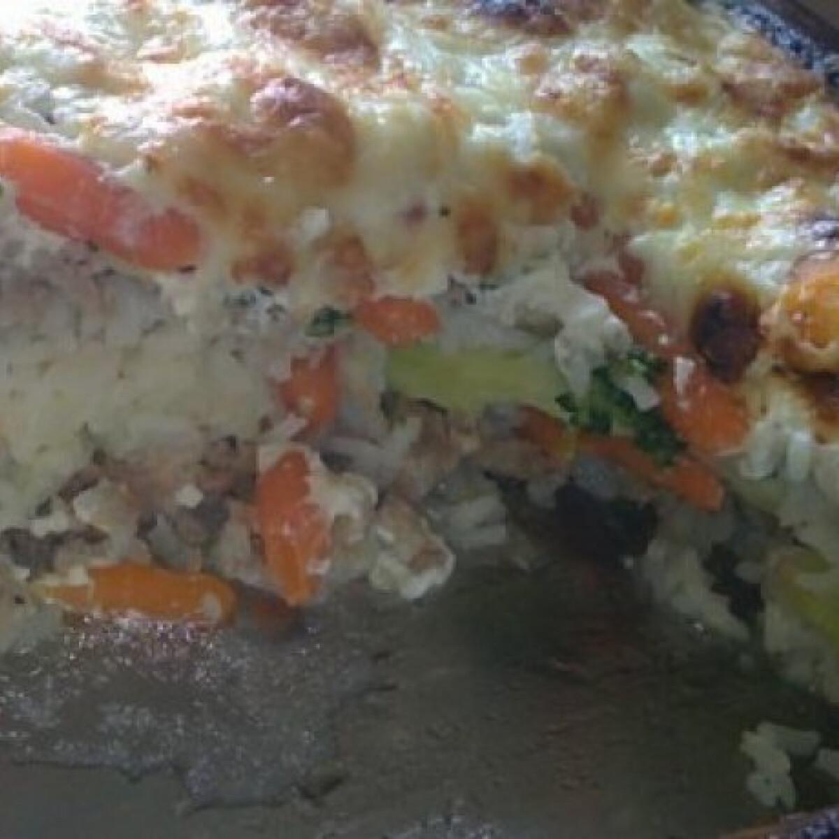 Ezen a képen: Rakott zöldség darált hússal