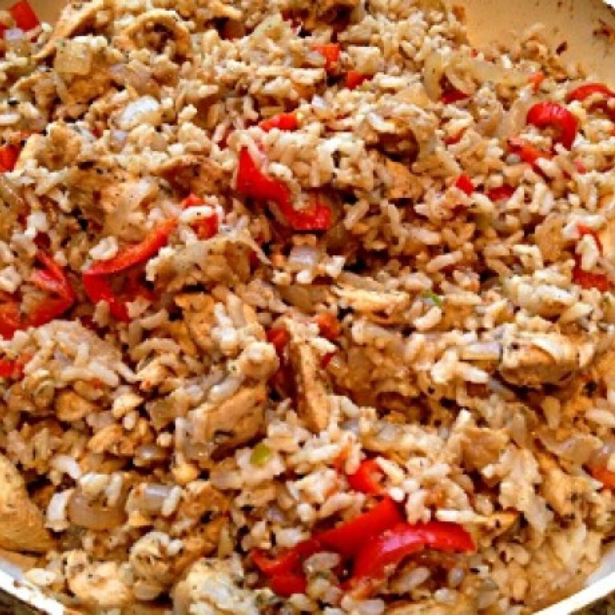 Sült zöldséges-barnarizses csirkecsíkok