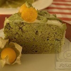 Zöld teás chiffon-torta