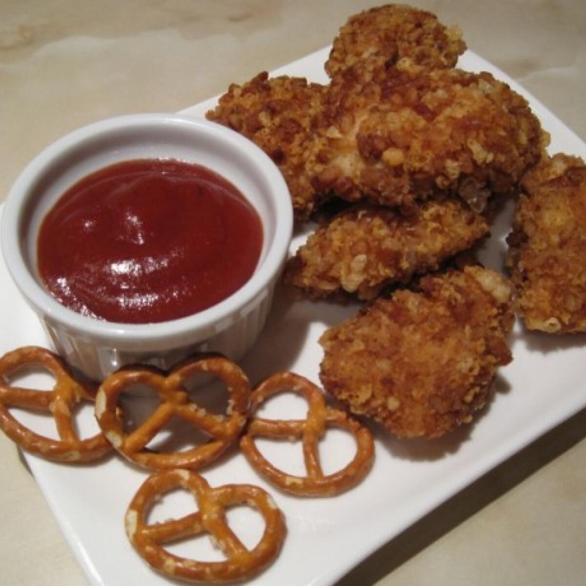 Csirke nuggets perecbundával
