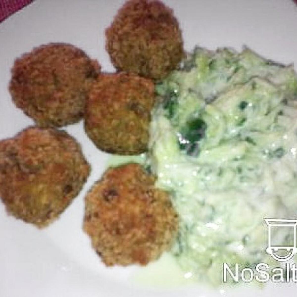 Ezen a képen: Falafel lencséből tzatziki salátával