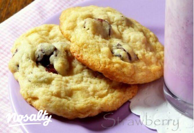 Ezen a képen: Fehér csokoládés-aszalt meggyes keksz