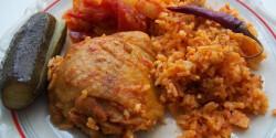Csirkecomb pörkölt lecsóval és rizzsel