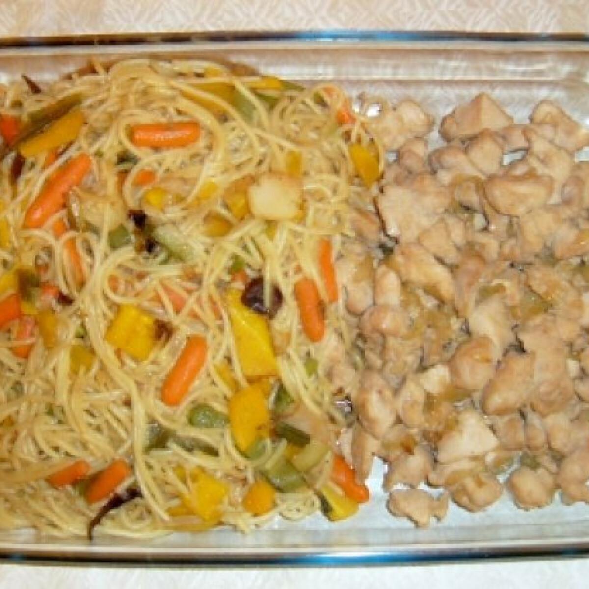 Ezen a képen: Zöldséges tészta pulykamellel wokban