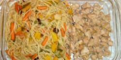 Zöldséges tészta pulykamellel wokban