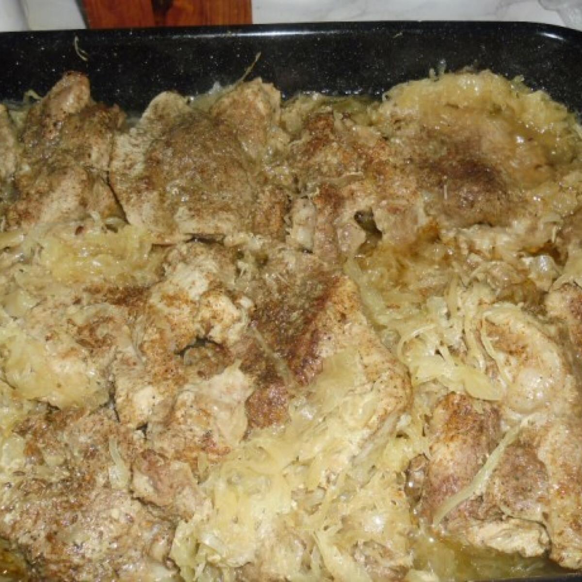 Sült hús káposztával és almával