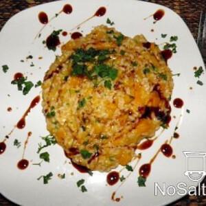 Kecskesajtos sütőtök-rizottó
