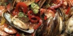 Zöldkagylós-zöldséges rákragu