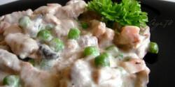 Zöldborsós-tejszínes csirkeragu