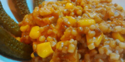 Tarhonyás karaj kukoricával