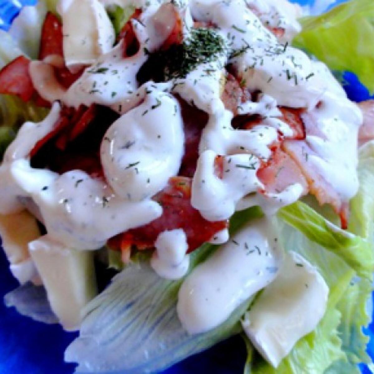 Ezen a képen: Üde saláta fokhagymás-kapros öntettel