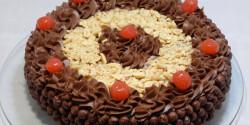 Gabonapelyhes csokoládémousse-torta szilvazselével