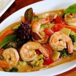 Garnéla thai-curry szószban