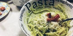 Házi zöld pesto spagettivel