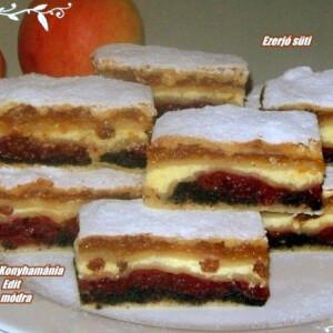 Mákos-túrós-almás réteges süti