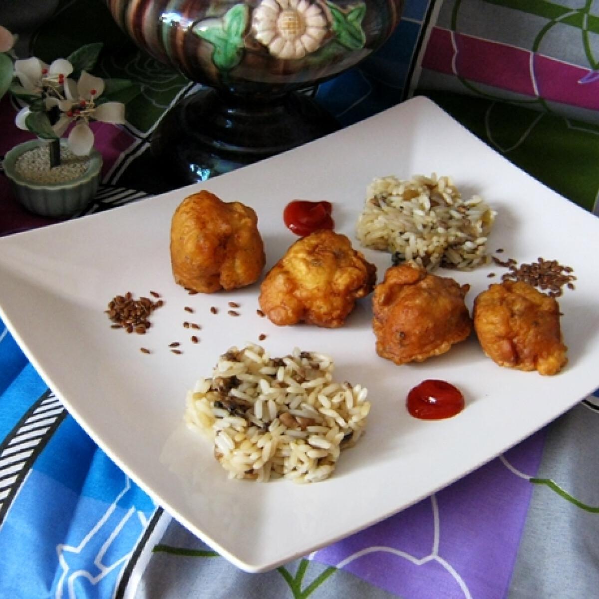 Ezen a képen: Lenmagos csirkegolyók gombás rizzsel