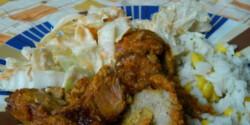 Szalonnával tűzdelt sertéscomb rizzsel