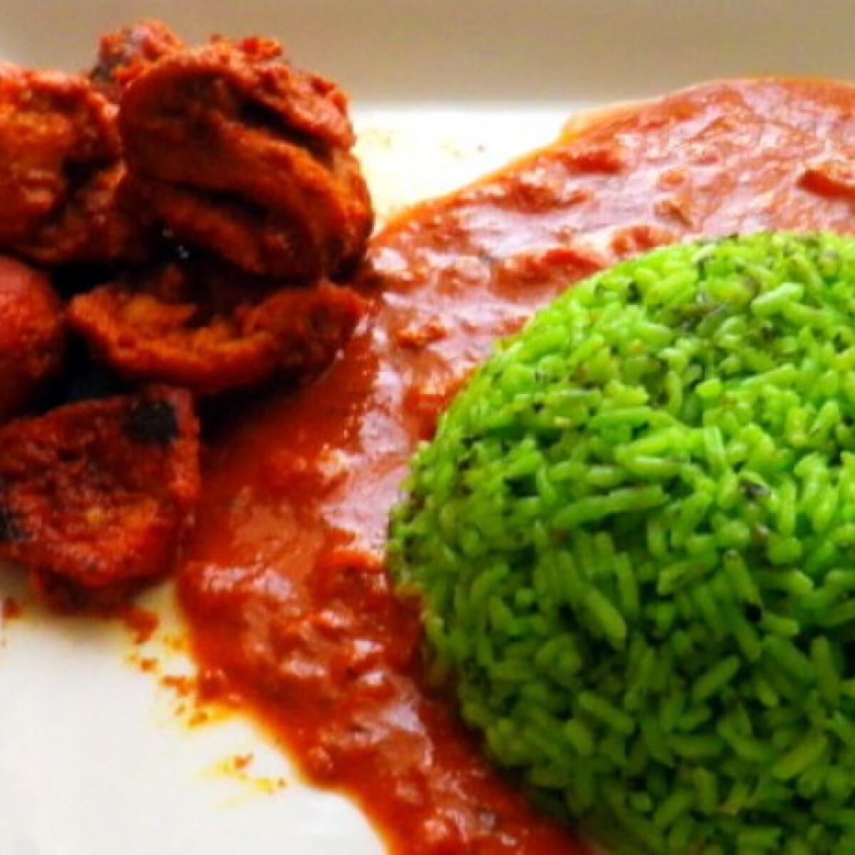 Ezen a képen: Tandoori csirke zöld rizzsel