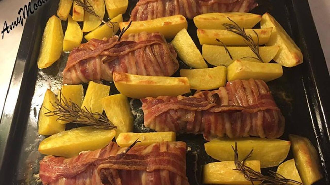 Fokhagymával tűzdelt baconös szűz rozmaringos krumplival