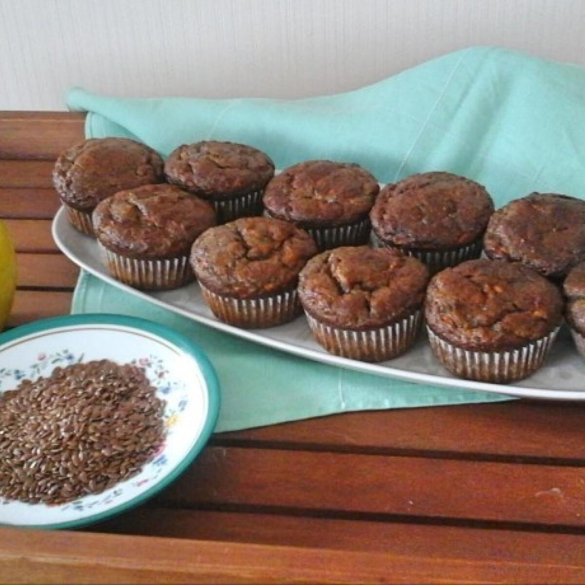 Almás-lenmagos muffin