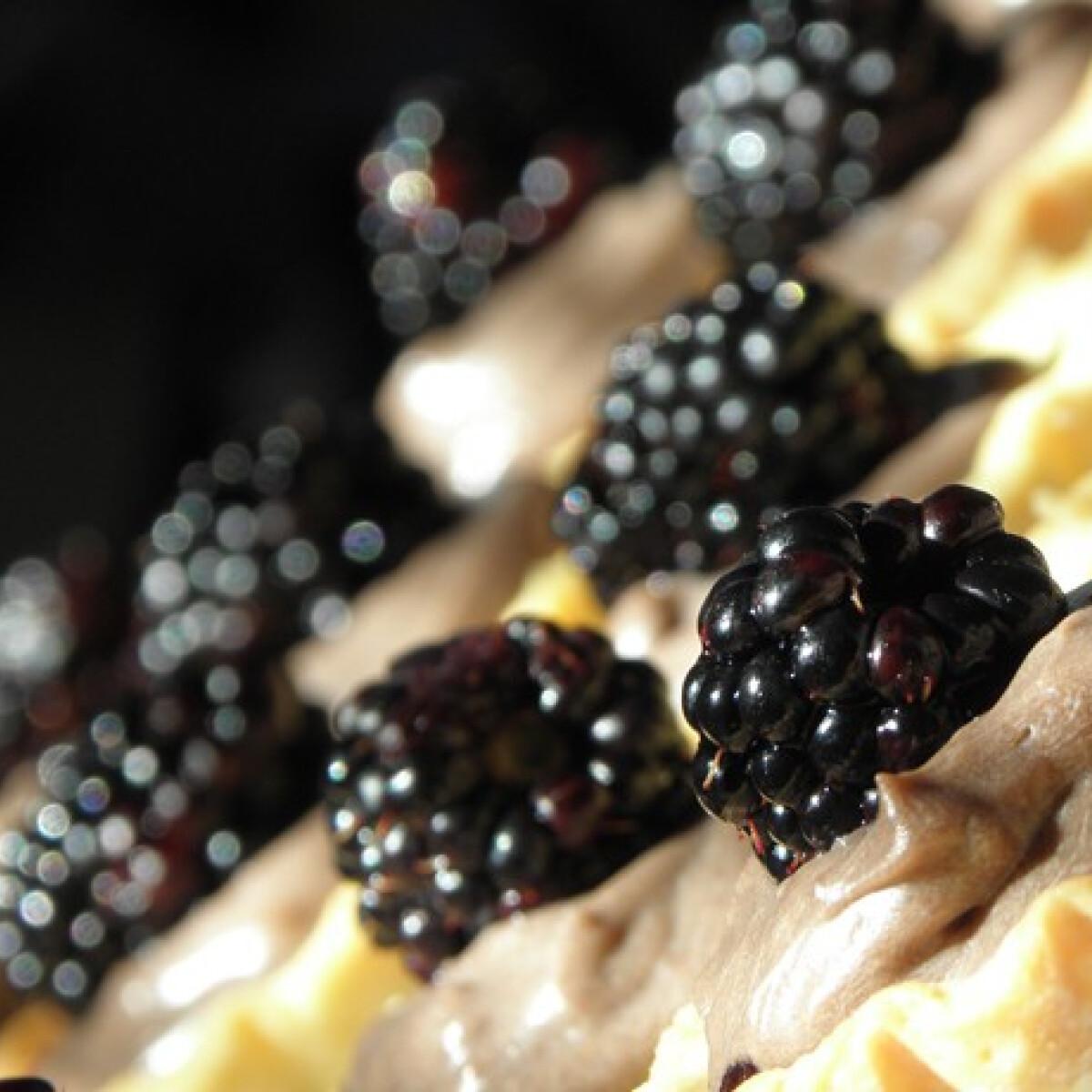 Ezen a képen: Étcsokis kosárkák szederrel