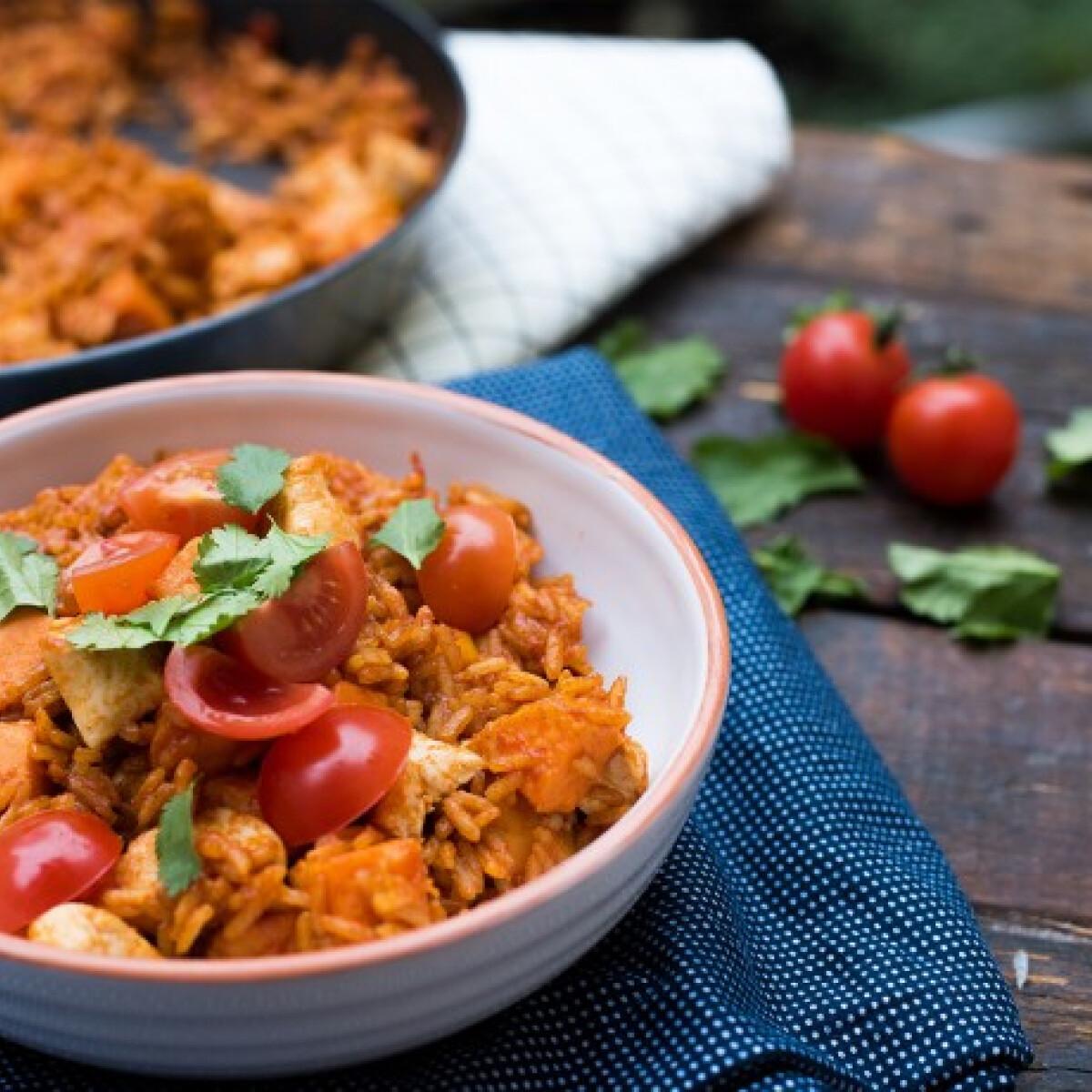 Ezen a képen: Édesburgonyás mexikói rizses hús