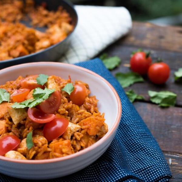 Édesburgonyás mexikói rizses hús