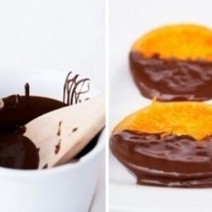 Kandírozott narancs étcsokoládéba mártva