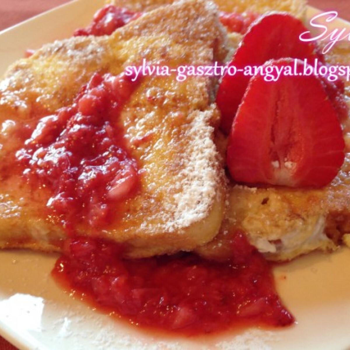 Ezen a képen: Vaníliás bundás kenyér eperrel Sylvia konyhájából